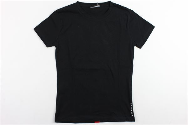 t-shirt mezza maica tinta unita con profili in contrasto YES LONDON | T-shirts | 2060NERO