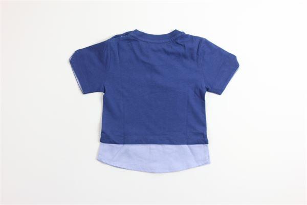 t-shirt tinta unita con stampa con finta camicia 4US | T-shirts | TSP9127BBLU
