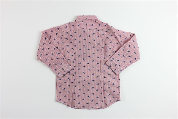 camicia manica lunga stampa a righe e scarpe AGLINI | Camicie | 67617ROSSA