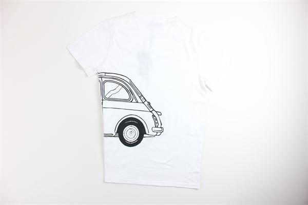 t-shirt tinta unita mezza manica con stampa AGO SARTO ITALIANO | T-shirts | A32BIANCO