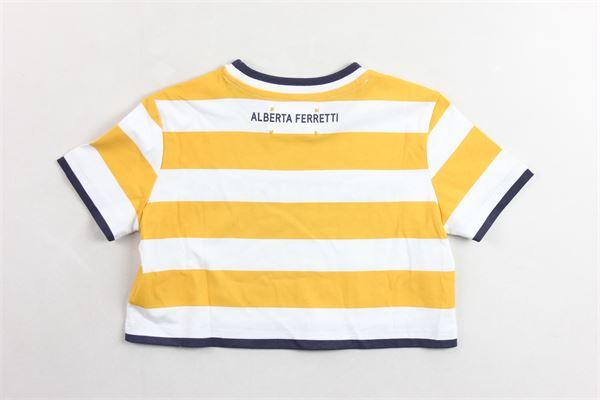 t-shirt corta mezza manica fantasia a righe e stampa ALBERTA FERRETTI | T-shirts | 019304BIANCO