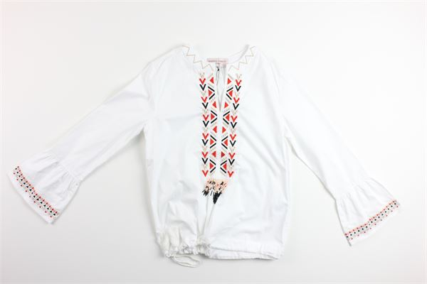 camicia manica lunga tinta unita con applicazioni ALBERTA FERRETTI | Camicie | 019587BIANCO