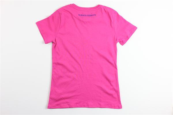 t-shirt mezza manica tinta unita con stampa ALBERTA FERRETTI | T-shirts | 020303FUXIA