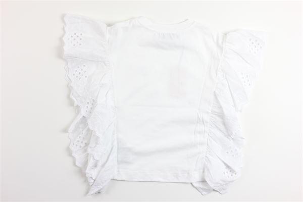 t-shirt manica ad aletta tinta unita con stampa ALBERTA FERRETTI | T-shirts | 024247BIANCO