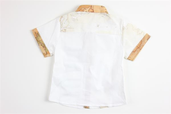 camicia mezza manica tinta unita con stampa logo ALVIERO MARTINI | Camicie | 2576C0142BIANCO