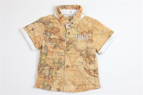 camicia mezza manica tinta unita con stampa logo ALVIERO MARTINI | Camicie | 2576C0147BEIGE