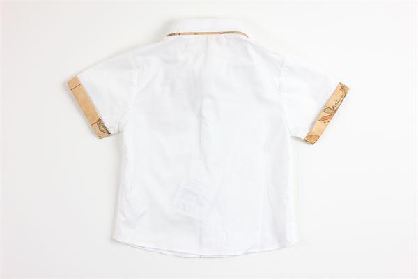 camicia mezza manica tinta unita con profili in contrasto ALVIERO MARTINI | Camicie | 2576C0149BIANCO