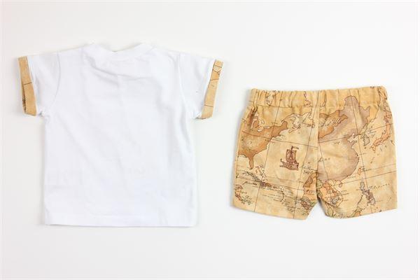 t-shirt tinta unita con stampa e bermuda stampa logo ALVIERO MARTINI   Completi   25SET0487BIANCO