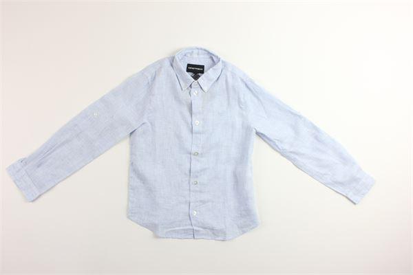camicia manica lunga tinta unita fantasia a righe 100%lino EMPORIO ARMANI | Camicie | 3G4CJ1CELESTE