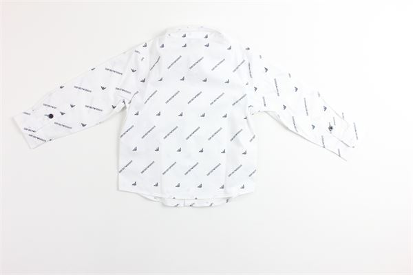 camicia manica lunga tinta unita stampa logo EMPORIO ARMANI | Camicie | 6GHC07BIANCO