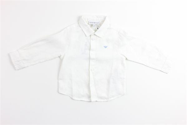 camicia manica lunga tinta unita 100%lino EMPORIO ARMANI | Camicie | 8NHC02BIANCO