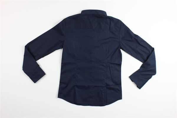 camicia manica lunga tinta con stampa ARMANI | Camicie | 3Y4C21BLU