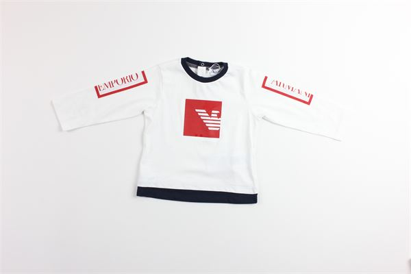 t-shirt tinta unita con stampa ARMANI | T-shirts | 6GHT06BIANCO