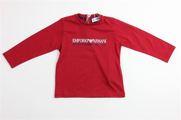 shirt tinta unita con stampa ARMANI | Shirts | 6GHT09ROSSO
