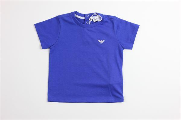 t-shirt tinta unita con stampa ARMANI | T-shirts | 8NHT05COBALTO
