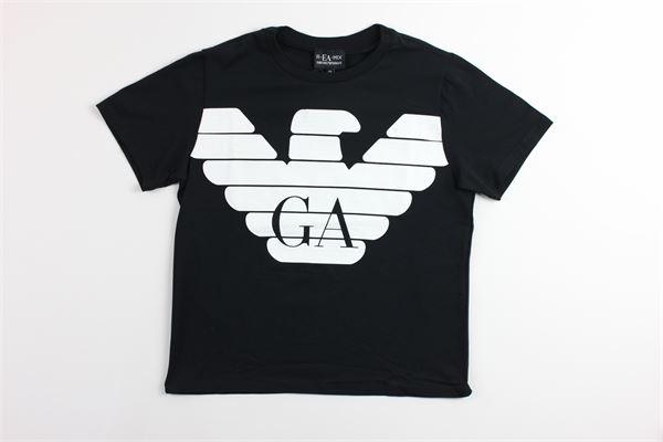 t-shirt tinta unita con stampa ARMANI | T-shirts | GG4TJ9NERO