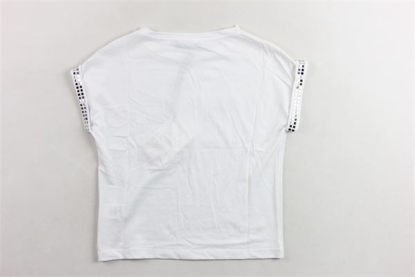 t-shirt mezza manica tinta unita con stampa logo e applicazioni BALMAIN | T-shirts | 6K8041KA050BIANCO