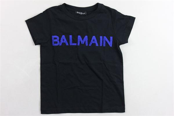 t-shirt mezza manica tinta unita con stampa logo BALMAIN | T-shirts | 6K8051KA050NERO