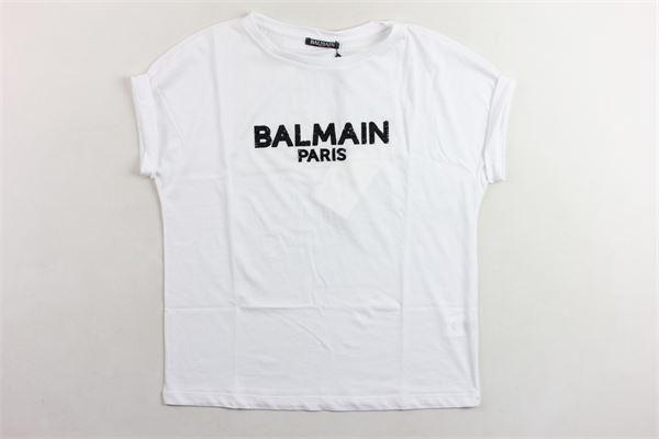 t-shirt mezza manica tinta unita con stampa logo e paillettes BALMAIN | T-shirts | 6K8081KA050BIANCO NERO