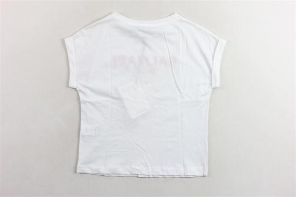 t-shirt mezza manica tinta unita con stampa logo e paillettes BALMAIN | T-shirts | 6K8081KA050BIANCO ROSA