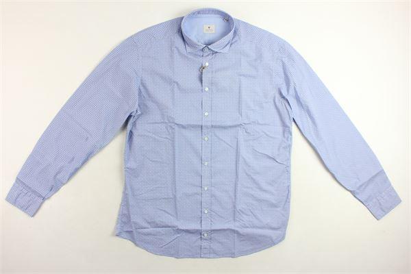 camicia manica lunga 100% cotone tinta unita con stampa fantasia BASTONCINO | Camicie | B1522AZZURRO