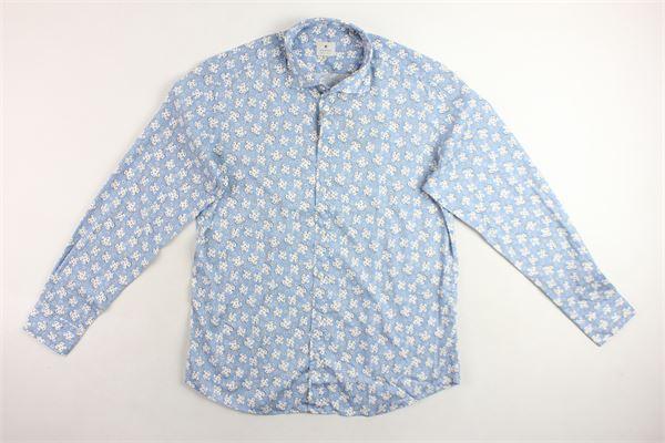 camicia manica lunga 100% cotone tinta unita con stampa fantasia BASTONCINO | Camicie | B1586AZZURRO