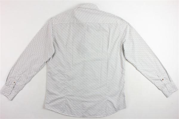 camicia manica lunga 100% cotone tinta unita con stampa fantasia BASTONCINO | Camicie | B1588BIANCO