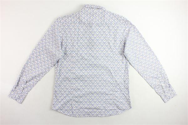 camicia manica lunga 100% cotone tinta unita con stampa fantasia BASTONCINO | Camicie | B1590BIANCO