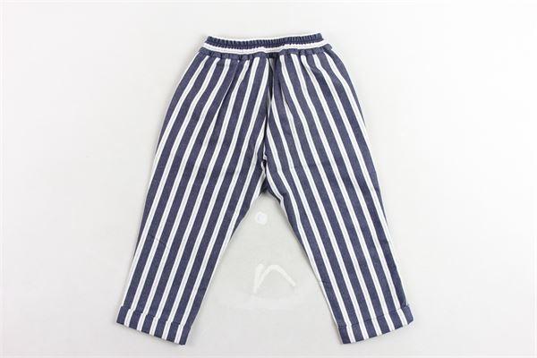 pantalone in cotone elastico in vita fantasia rigata tasca americana BERWICH | Pantaloni | WMPA02BLU