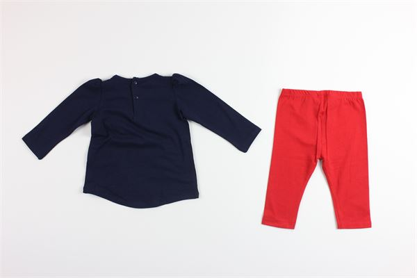 shirt tinta unita con stampa  e leggins tinta unita BIRBA | Completi | 999890380075HBLU/ROSSO