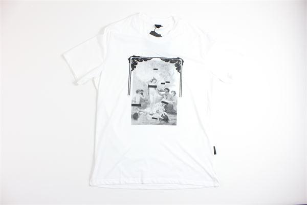 t-shirt mezza manica tinta unita con stampa BLACK CIRCUS | T-shirts | TSU624SBIANCO