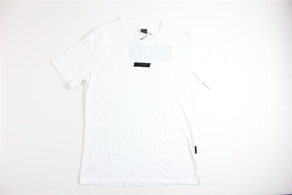 t-shirt mezza manica tinta unita con stampa BLACK CIRCUS | T-shirts | TSU625SBIANCO