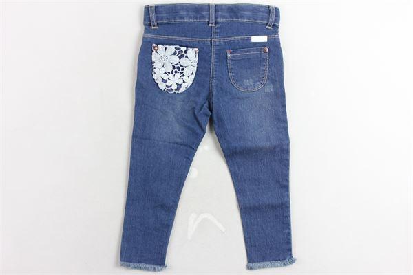 jeans cinque tasche girovita regolabile con ricami BOBOLI | Jeans | 209012BLU