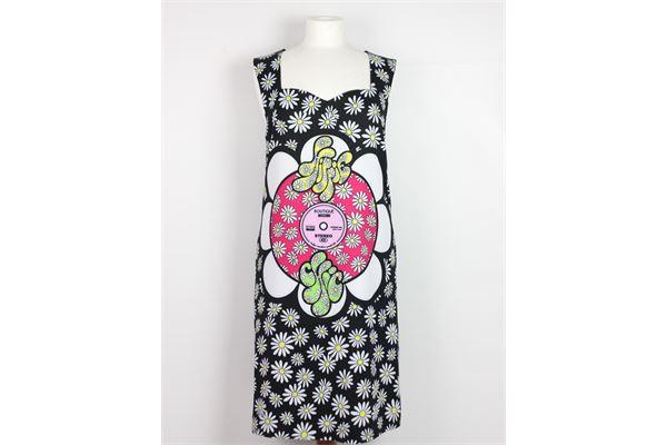abito giromanica corto tinta unita con stampa fiori BOUTIQUE MOSCHINO | Abiti | HA0461NERO