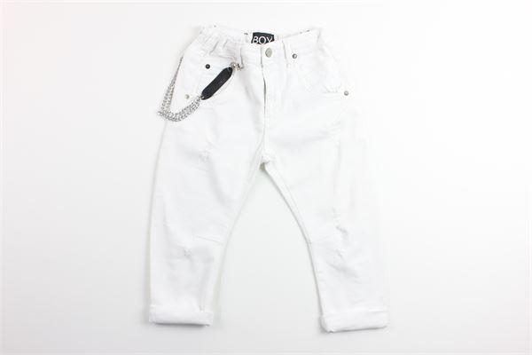 jeans 5 tasche tinta unita con girovita regolabile stampa e applicazione catena BOY LONDON | Pantaloni | PJBL181104BBIANCO