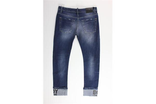 jeans 5 tasche tinta unita con girovita regolabile BOY LONDON | Jeans | PJBL183201JBLU