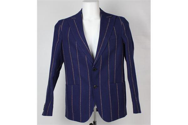 giacca tinta unita fantasia a righe e pantalone tinta unita fantasia a righe BRIAN DALES | Completi | JK43188BLU