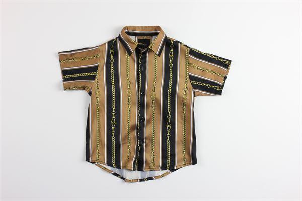 camicia mezza manica stampa fantasia I'AM BRIAN | Camicie | CA1286JMARRONE