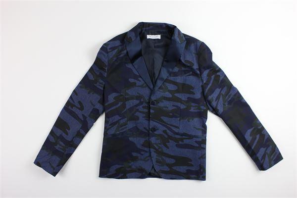 giacca tinta unita  con stampa fantasia BRIAN RUSH | Giacche | GIACCABRIAN1BLU