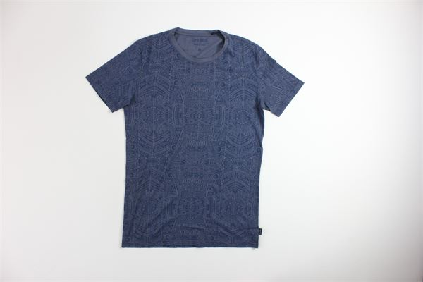 t-shirt mezza manica tinta unita con stampa CARELABEL | T-shirts | TEE913BLU