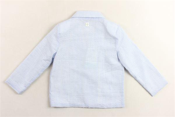 giacca  tinta unita fantasia a righe con taschini CARRE'MENT BEAU | Giacche | Y96032BIANCO/AZZURRO