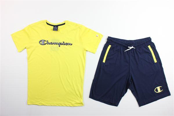 t-shirt tinta unita con stampa e bermuda tinta unita CHAMPION | Completi | 305216GIALLO/BLU