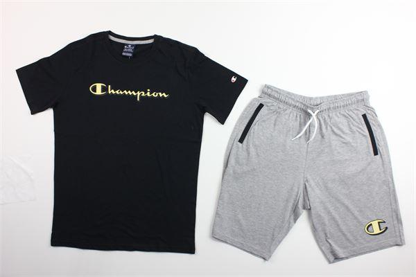 t-shirt tinta unita con stampa e bermuda tinta unita CHAMPION | Completi | 305216NERO/GRIGIO