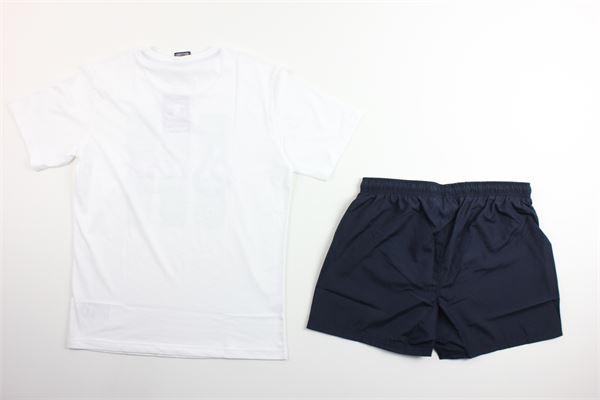 t-shirt tinta unita con stampa e costume tinta unita CHAMPION | Completi | 305278BIANCO/BLU