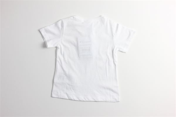 t-shirt tinta unita con stampa logo CHAMPION | T-shirts | 403886BIANCO