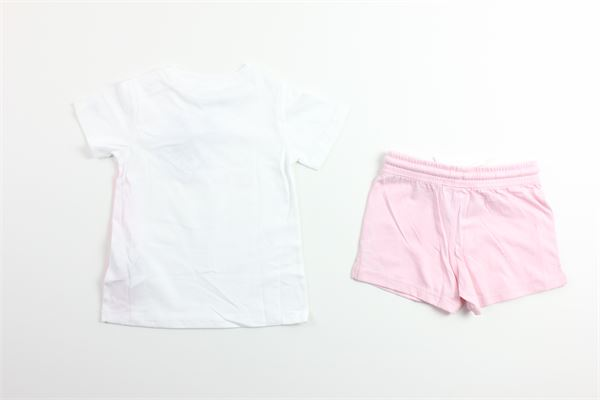 t-shirt tinta unita con stampa logo e short tinta unita CHAMPION | Completi | 403889BIANCO/ROSA