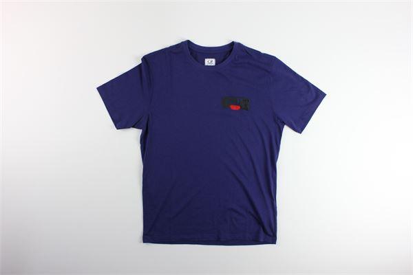 t-shirt tinta unita con stampa C.P. COMPANY | T-shirts | 08CMTS145AVIOLA