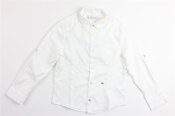 camicia manica lunga tinta unita con microfantasia DANIELE ALESSANDRINI | Camicie | 1235C0331BIANCO