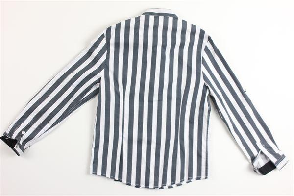 camicia manica lunga tinta unita con stampa a righe DANIELE ALESSANDRINI | Camicie | 1235C0336BIANCO/BLU