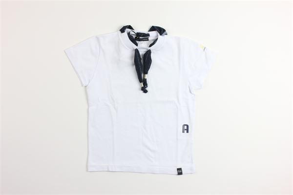 t-shirt tinta unita mezza manica con applicazioni DANIELE ALESSANDRINI | T-shirts | 1235M0559BIANCO